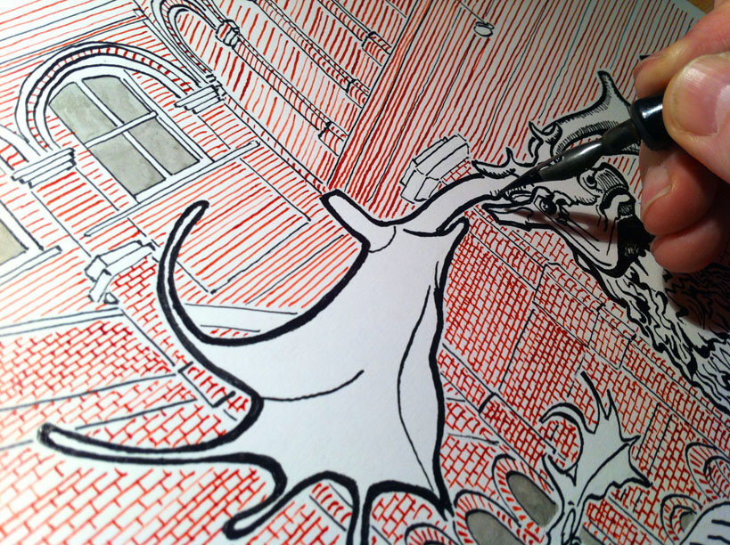 a pen drawing the antlers of a deer