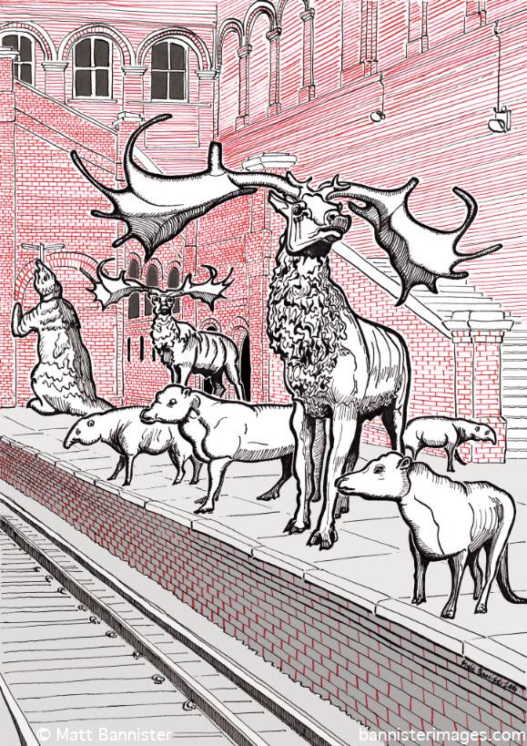 illustration of extinct mammals on a railway platform