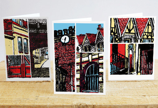three greetings cards