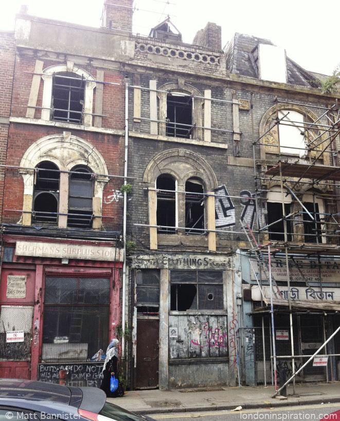 Row of derelict shops