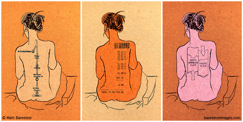 illustration of the backs of three nude women