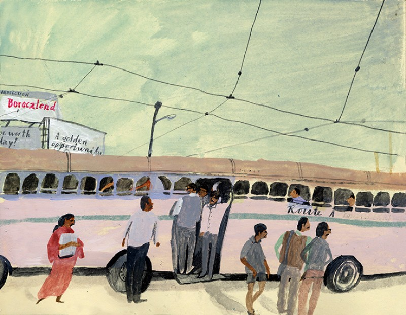 Illustration of a bus by Laura Carlin