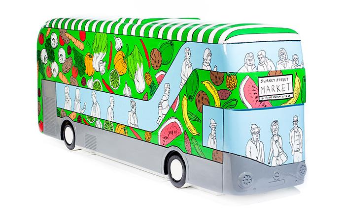 colourful bus sculpture