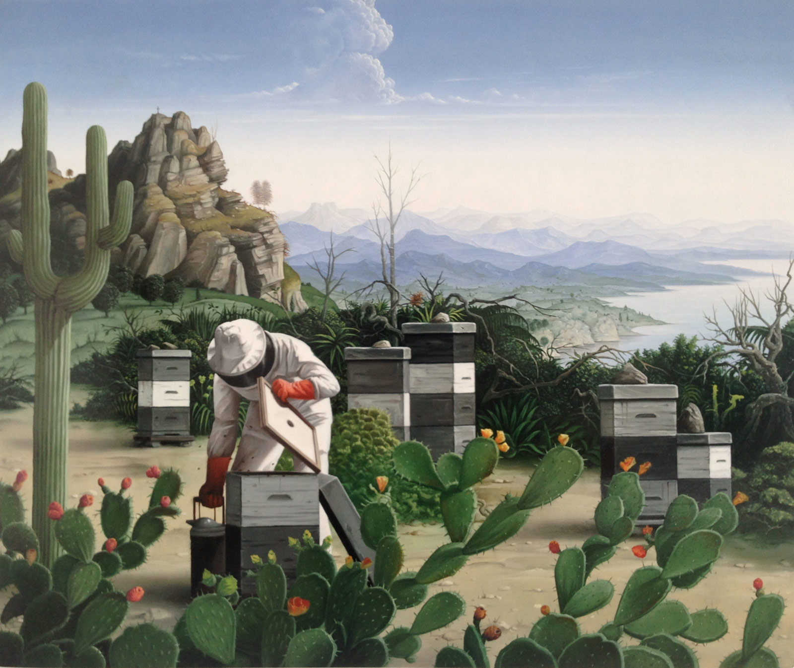 painting of a beekeeper