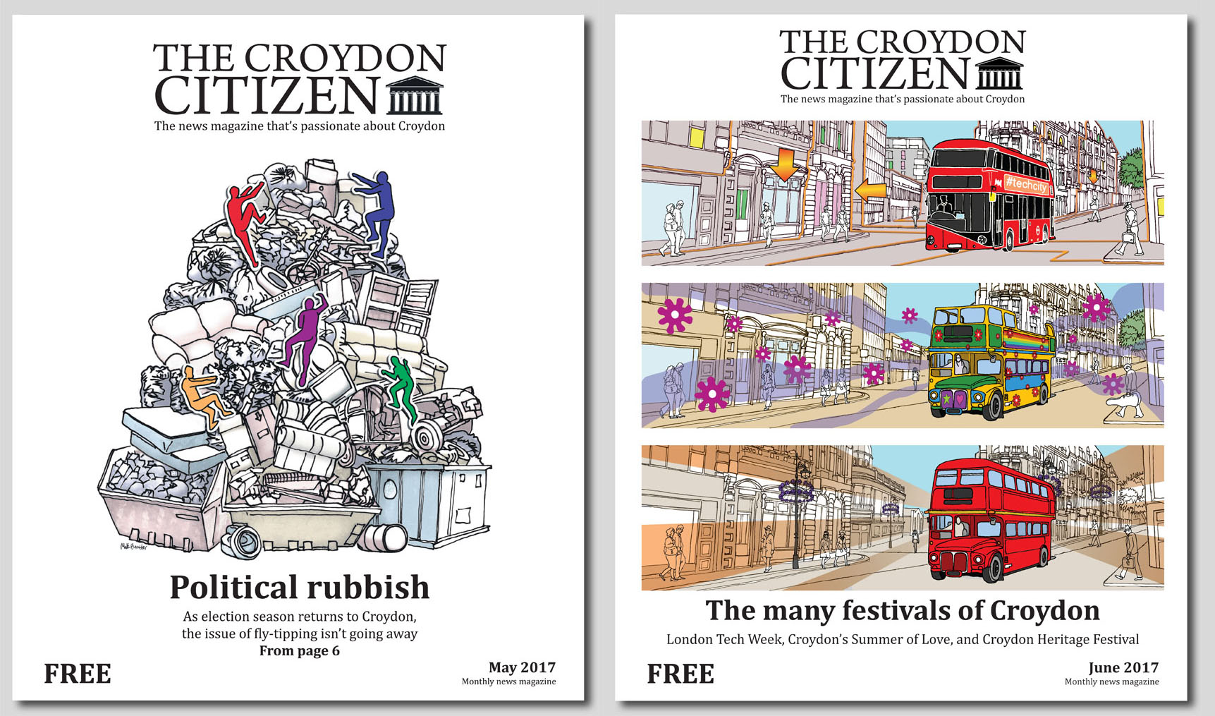 cover illustrations from The Croydon Citizen