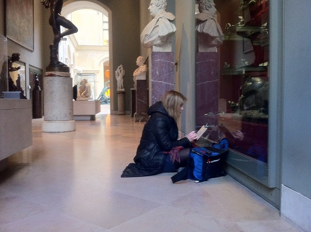 Sketching the Bayre sculptures in the Louvre. Bayre is one of my very favorite sculptors.