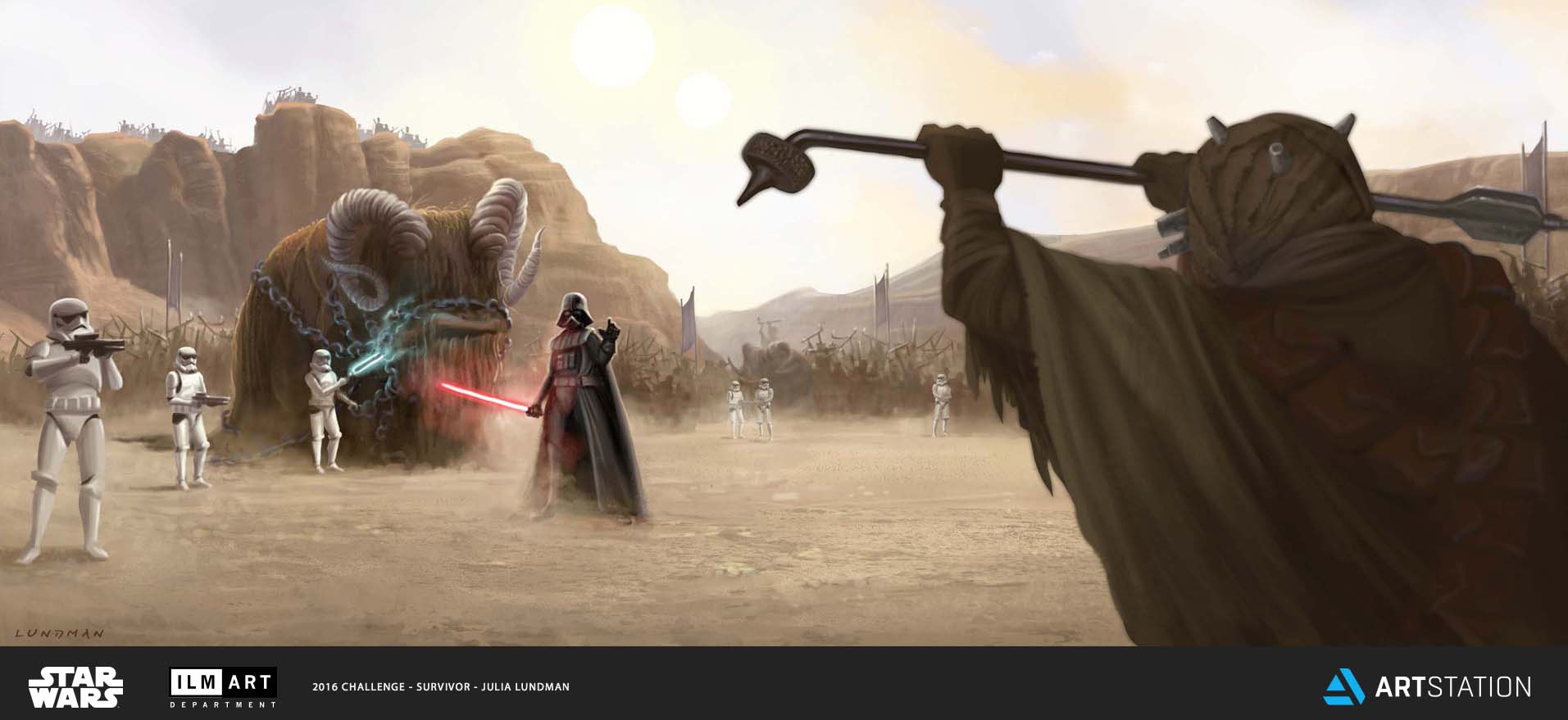 KEYFRAME 1: WHILE ON TATOOINE SEARCHING FOR THE MISSING DEATH STAR PLANS, DARTH VADER CONFRONTS THE LEADER OF A TUSKEN RAIDER TRIBE BY THREATENING AND KILLING HIS BANTHA.