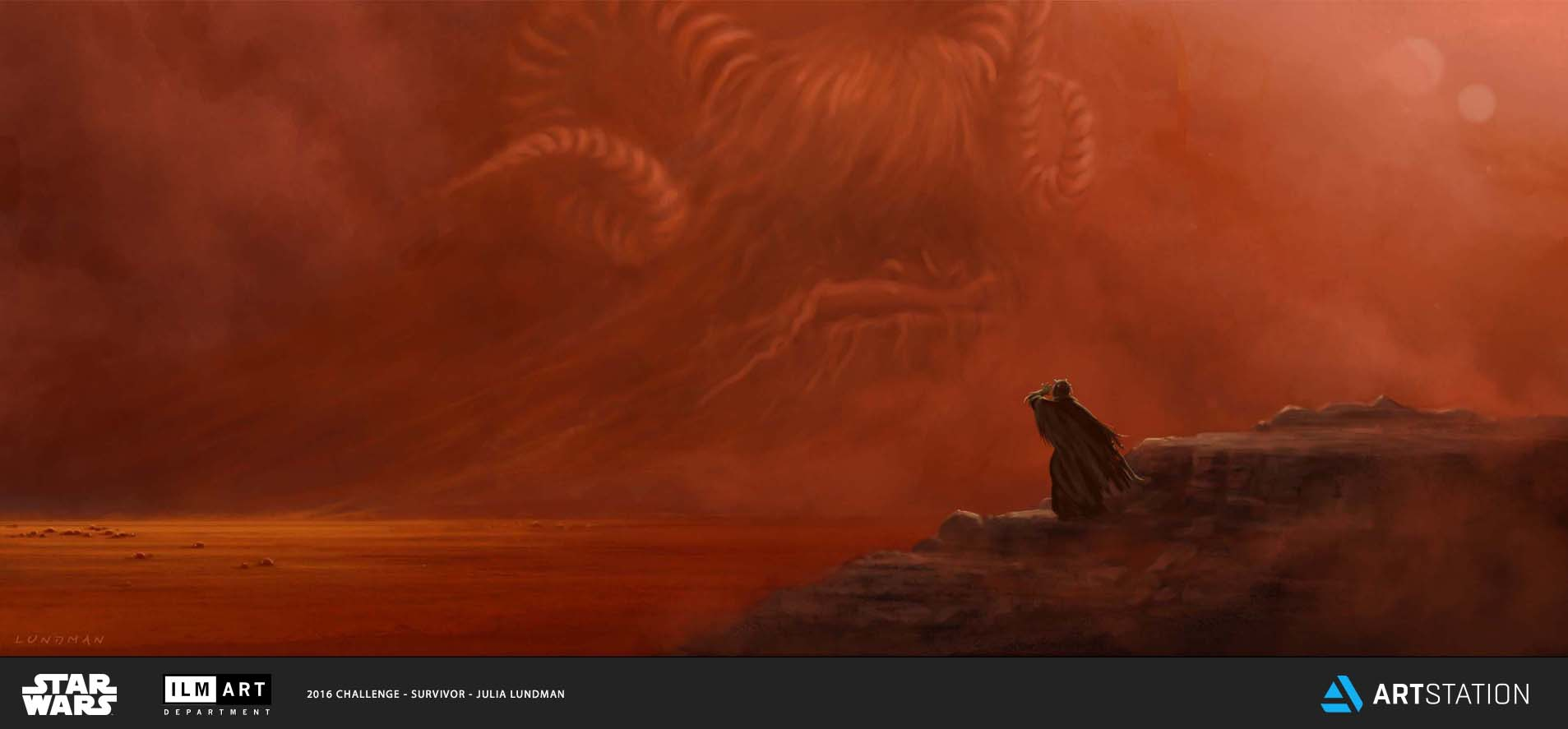 KEYFRAME 2: TUSKEN RAIDERS AND BANTHAS FORM A DEEP, LIFE LONG BOND. WHEN BROKEN BY DEATH, EITHER THE TUSKEN RAIDER OR BANTHA MUST GO OUT ALONE INTO THE DESERT TO LIVE OR DIE. THIS TUSKEN RAIDER EXPERIENCES A VISION OF HIS BANTHA SPIRIT, WHICH LEADS HIM TO A NEW, UNKNOWN HERD.