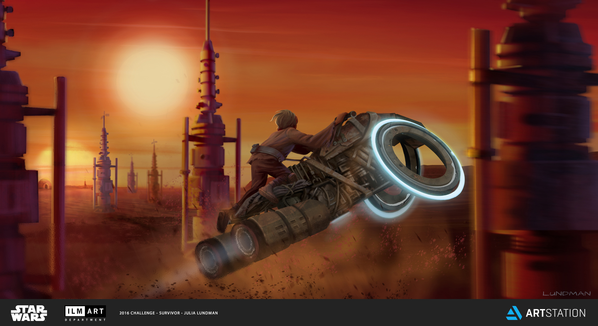 KEYFRAME 3: WHEN LUKE SKYWALKER WAS TWELVE, HE BUILT A CUSTOM MADE SPEEDER BIKE OUT OF SPARE FARM PARTS AND OLD MINING EQUIPMENT HE FOUND IN THE DESERT, STRAPPING IT ALL TOGETHER AS BEST HE COULD. AT SUNSET AFTER A HARD DAY'S WORK ON THE FARM, HE WOULD OFTEN RACE THROUGH FIELDS OF MOISTURE VAPORATORS, MUCH TO AUNT BERU'S CONCERN.