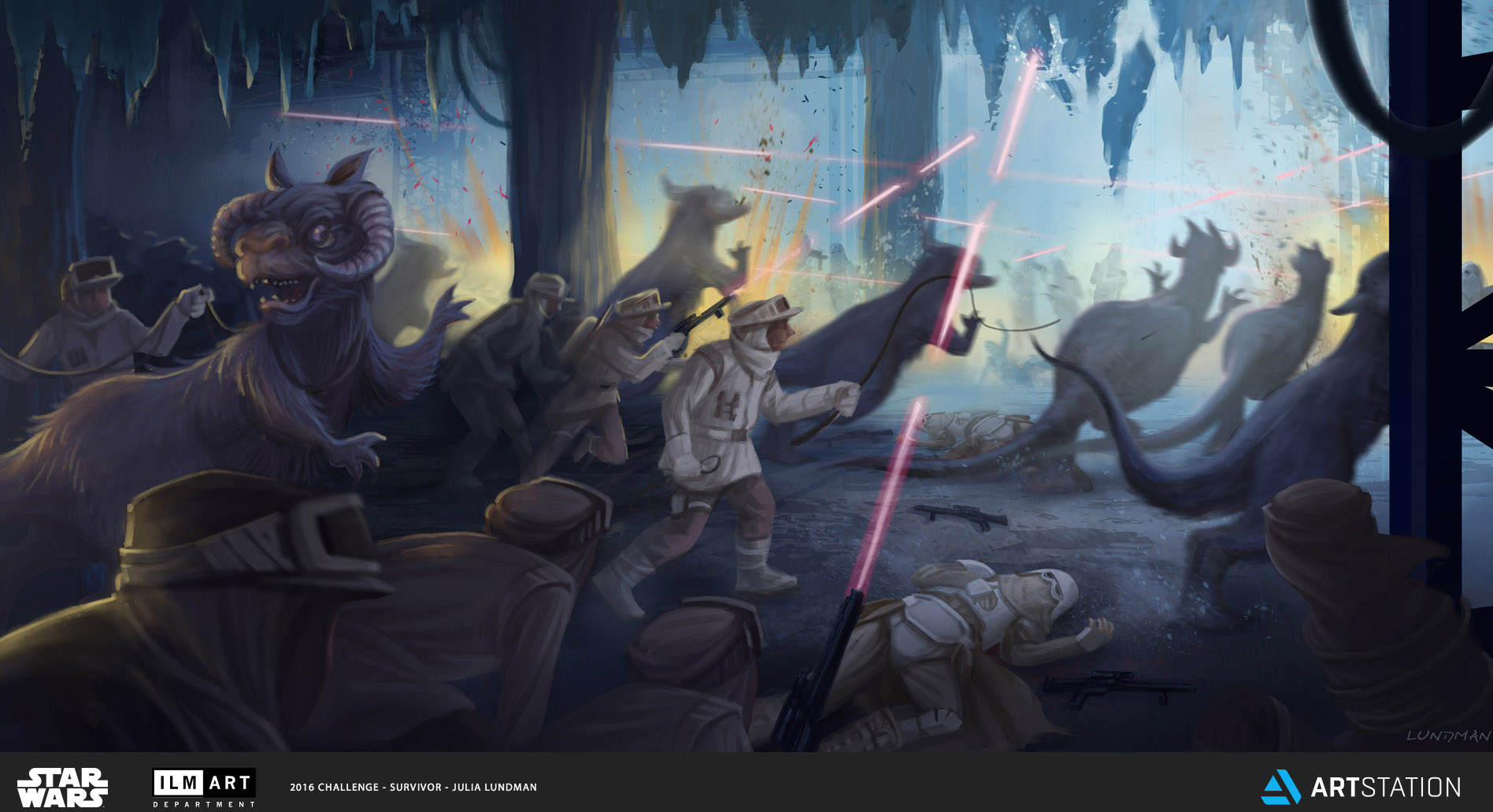KEYFRAME 5: THE REBELS, WHO WERE HELD CAPTIVE IN A TAUNTAUN PEN, DEVISED A PLAN TO SCARE THE BEASTS INTO A PANIC, CAUSING A STAMPEDE AND NECESSARY DIVERSION. WHILE THE STAMPED DISTRACTED THE SNOWTROOPERS, THE REBELS LOOSENED THEIR TIES AND OVERWHELMED THE SITUATION, USING CAPTURED BLASTERS TO BRING ICE DOWN FROM THE CEILING.