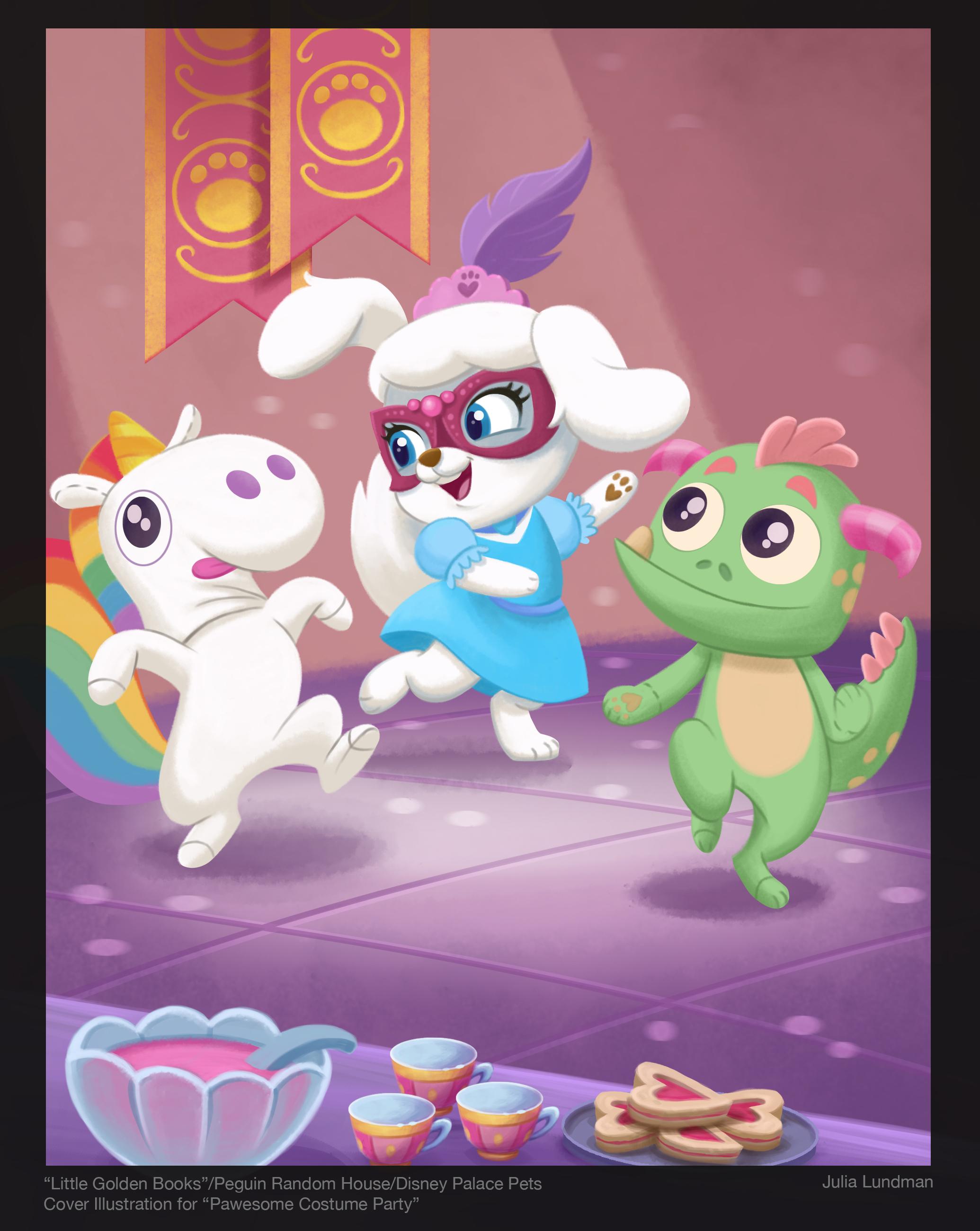 """Cover illustration for """"Little Golden Books""""/Penguin Random House/Disney """"Pawesome Costume Party"""""""