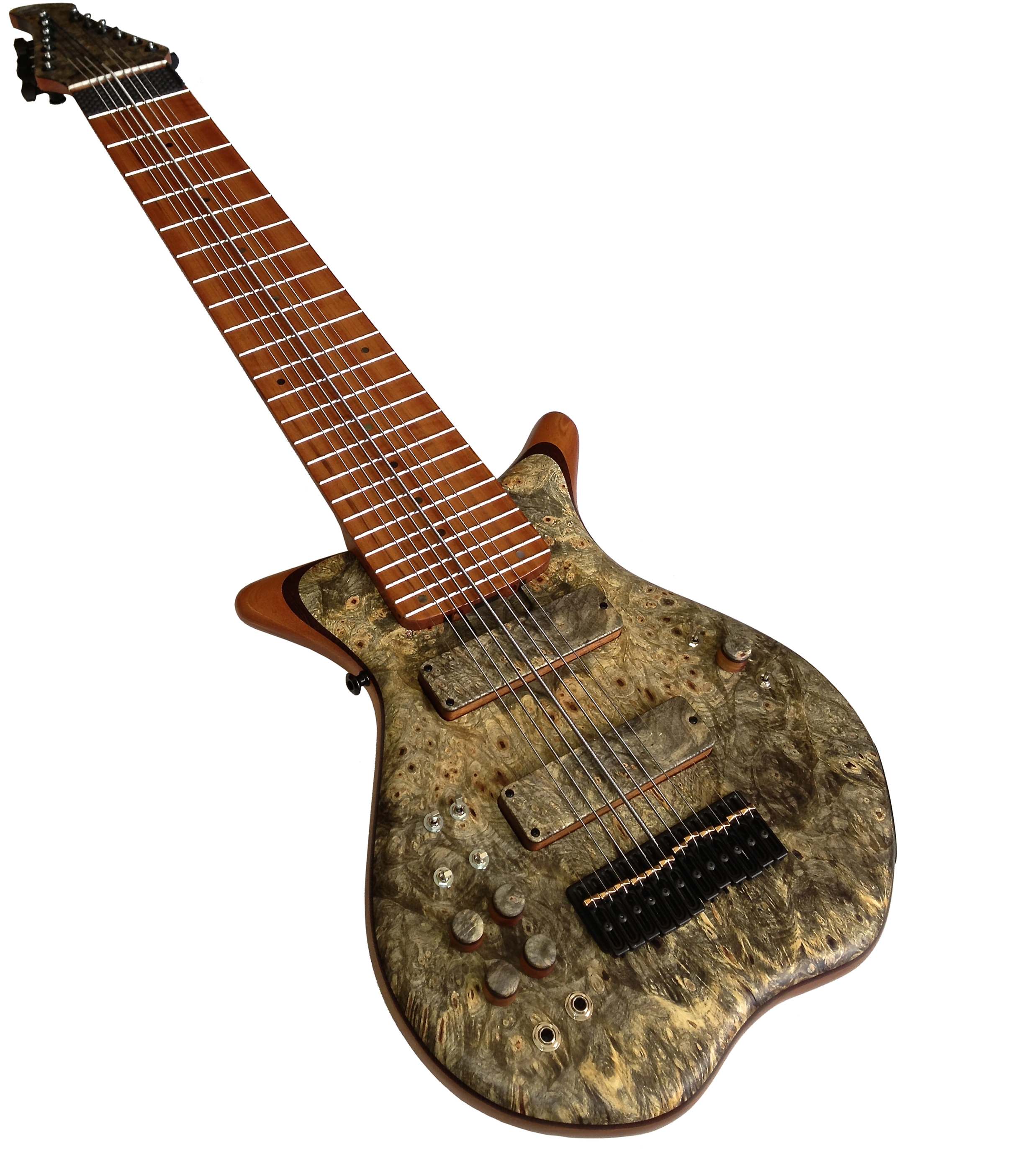 Warr Trey Gun Signature Series TGSS 12-String  12 Piezo / 12 MIDI Buckeye Burl top on a Mahogany body core and a Wenge pinstripe Warr Custom Hand-wound Pickups Custom wood pickup shells and knobs