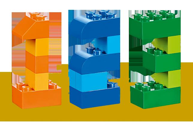 1 2 3 logo in Lego bricks