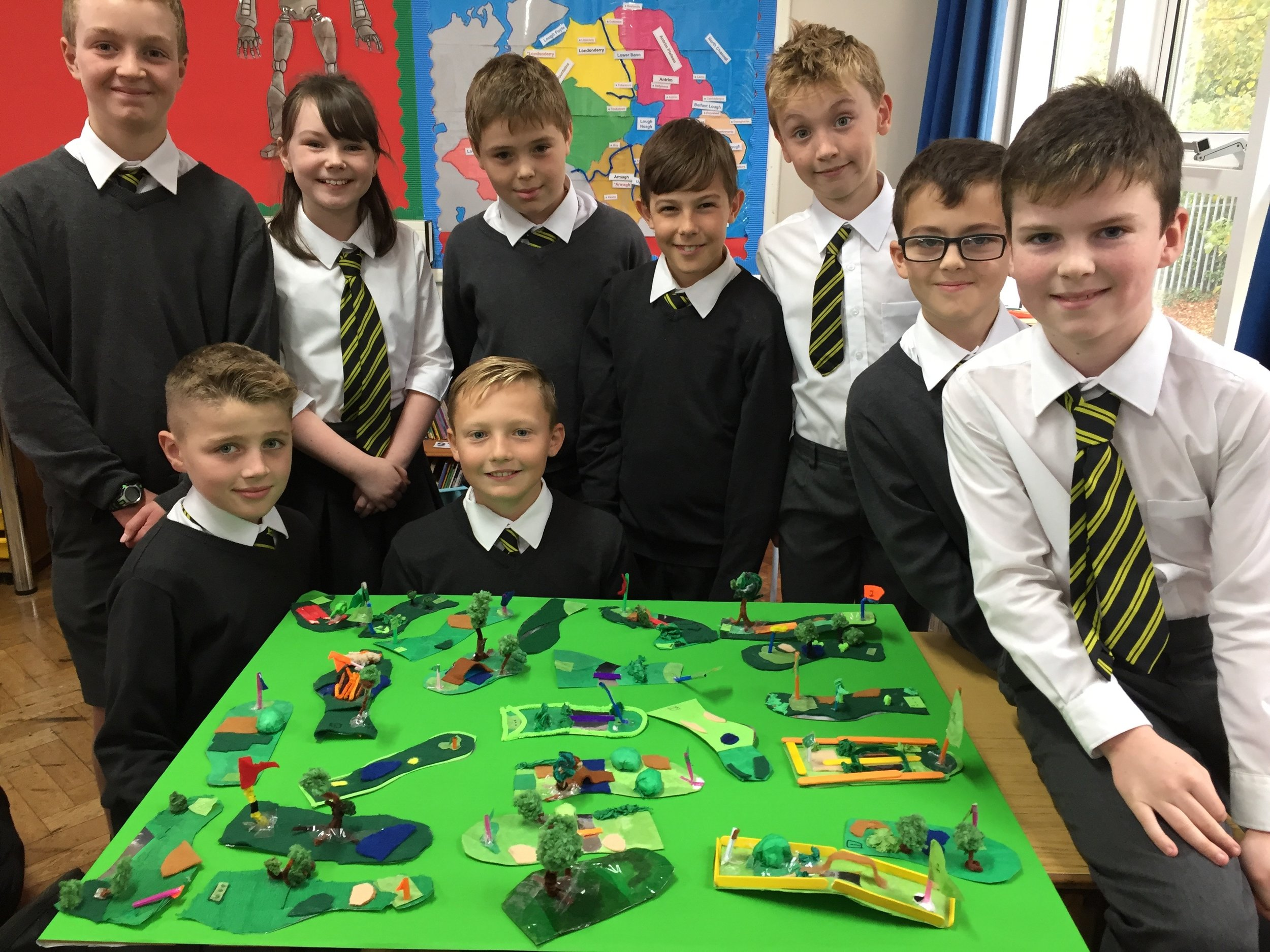 P7 R12 are studying Northern Ireland and have designed their own golf course.  Rory, Darren and Graham have already booked their tee-off times!