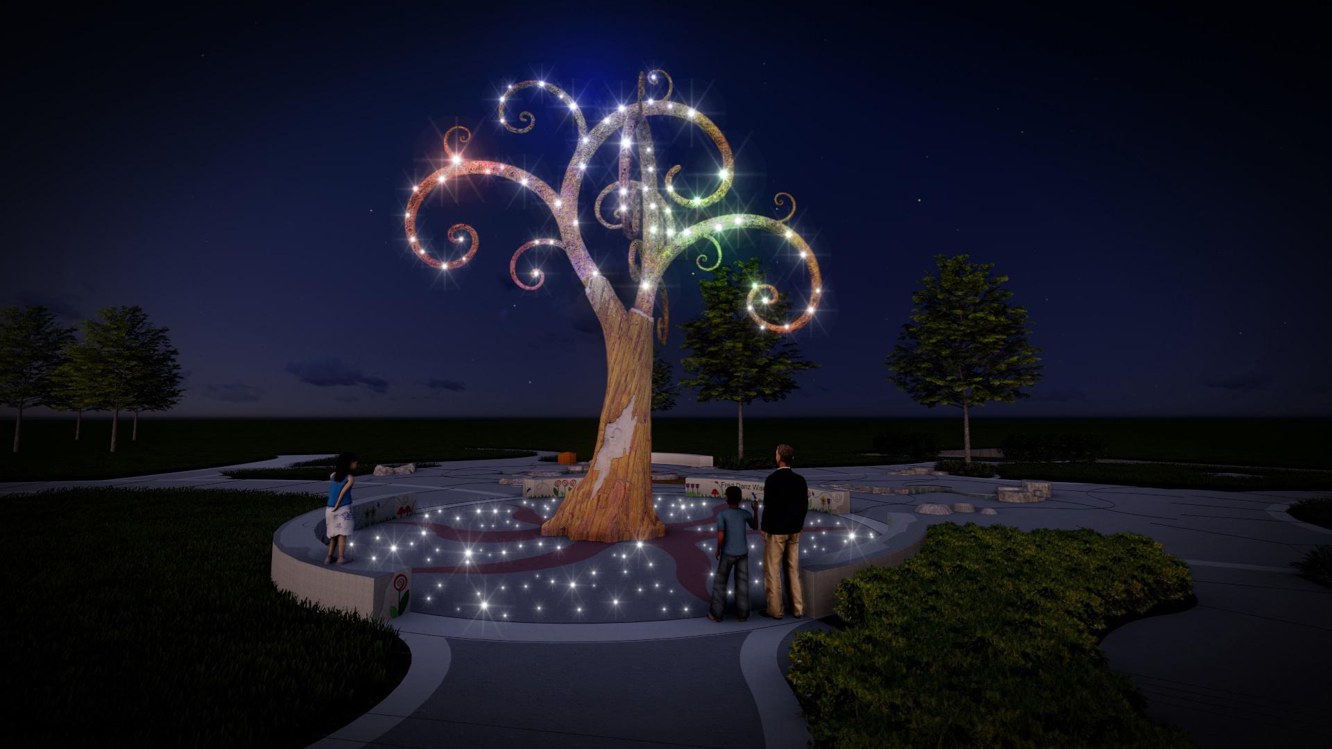 Inspiration Playground Wisdom Tree Bellevue Washington inclusive play playground custom art sculpture