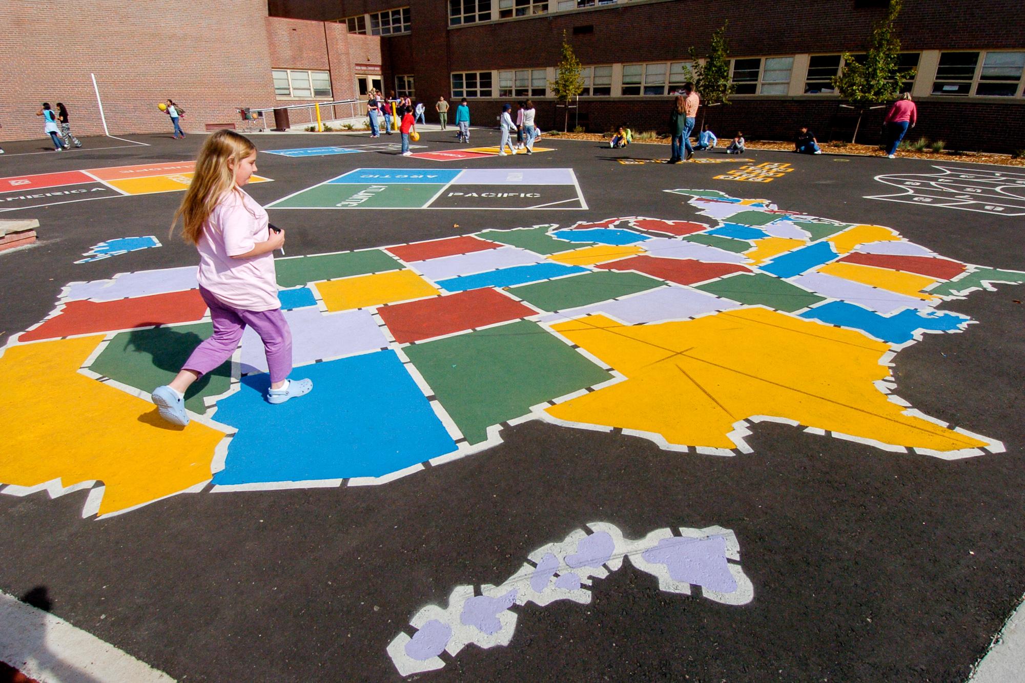 School playground learning landscape educational world map