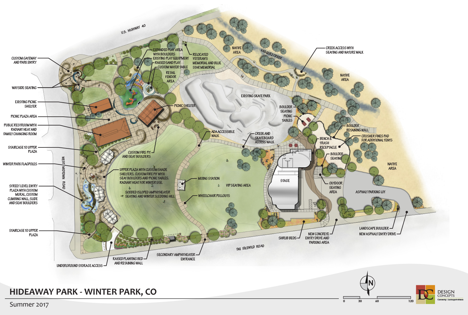 The full site plan showing the playground, amphitheater concert venue, restroom, climbing wall, gathering areas and custom art gateways.