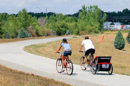 Bikes on a trail through natural open spcae