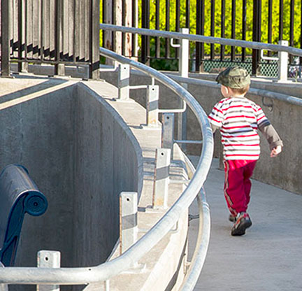 Place a second set of handrails at children's height to increase accessibility.