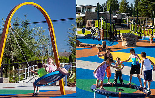 Smooth surfaces and inclusive play structures mean the play area is accessible to all children.