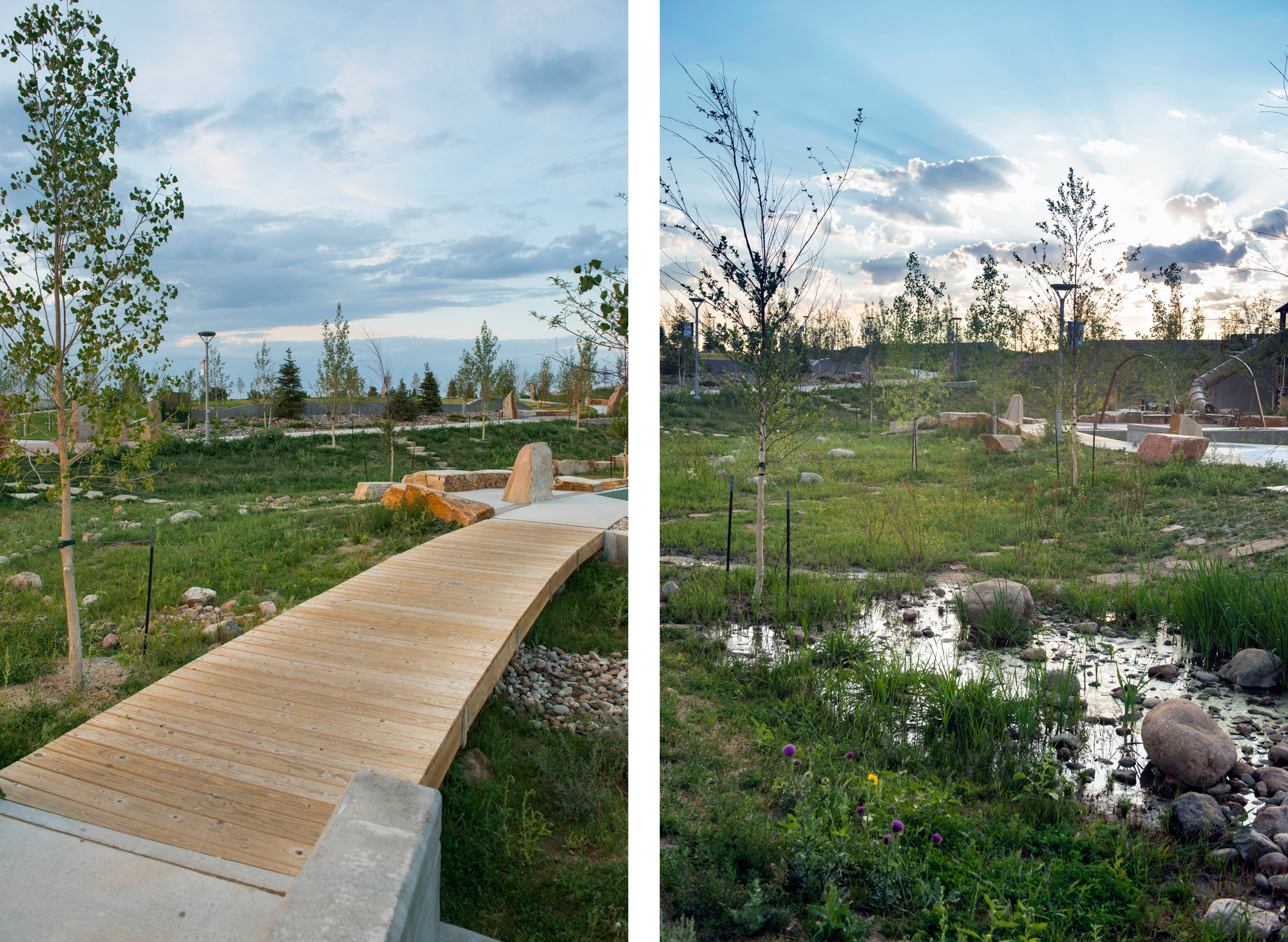 Drainage was designed at Centennial's Center Park to be celebrated as a educational and intrepretaive component of the playground and nature play experience.