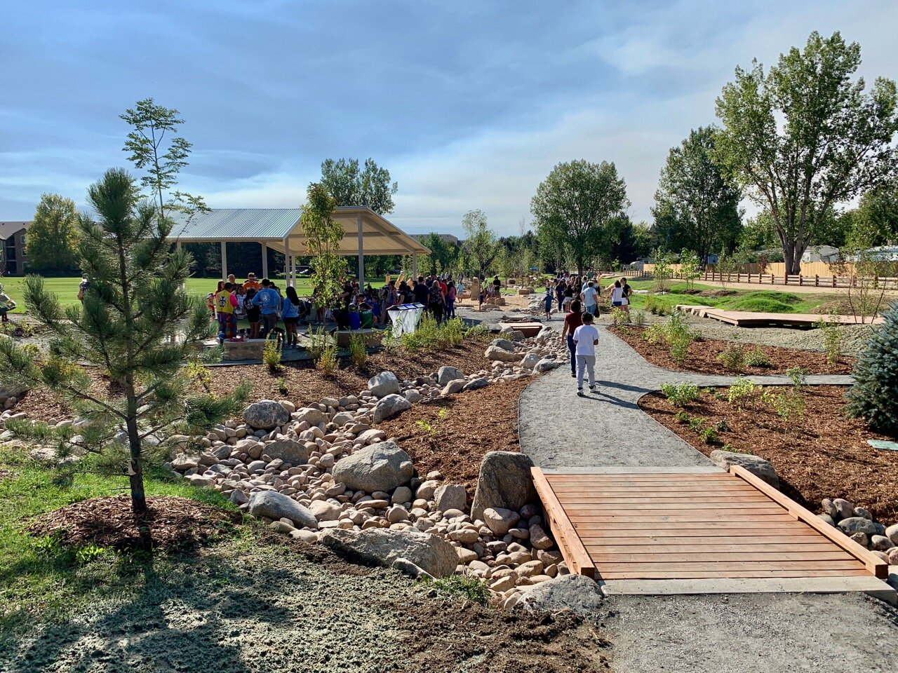 A path made of natural materials leads visitors into the Nature Discovery Area & Inspire Trail in Lafayette, Colorado
