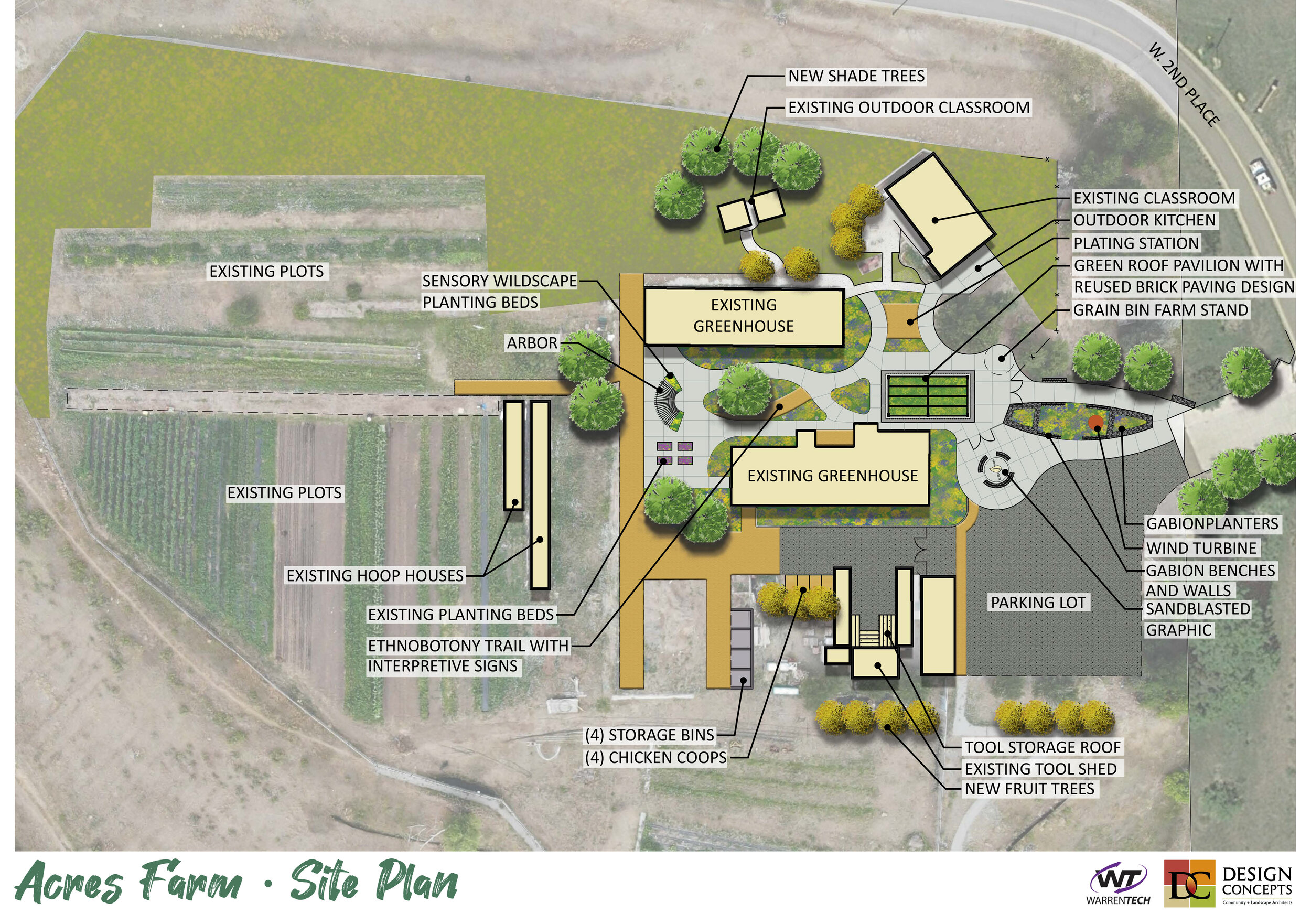 Site Master Plan - Design Concepts helped develop a master plan for the school site with the intent of growth with the program's success