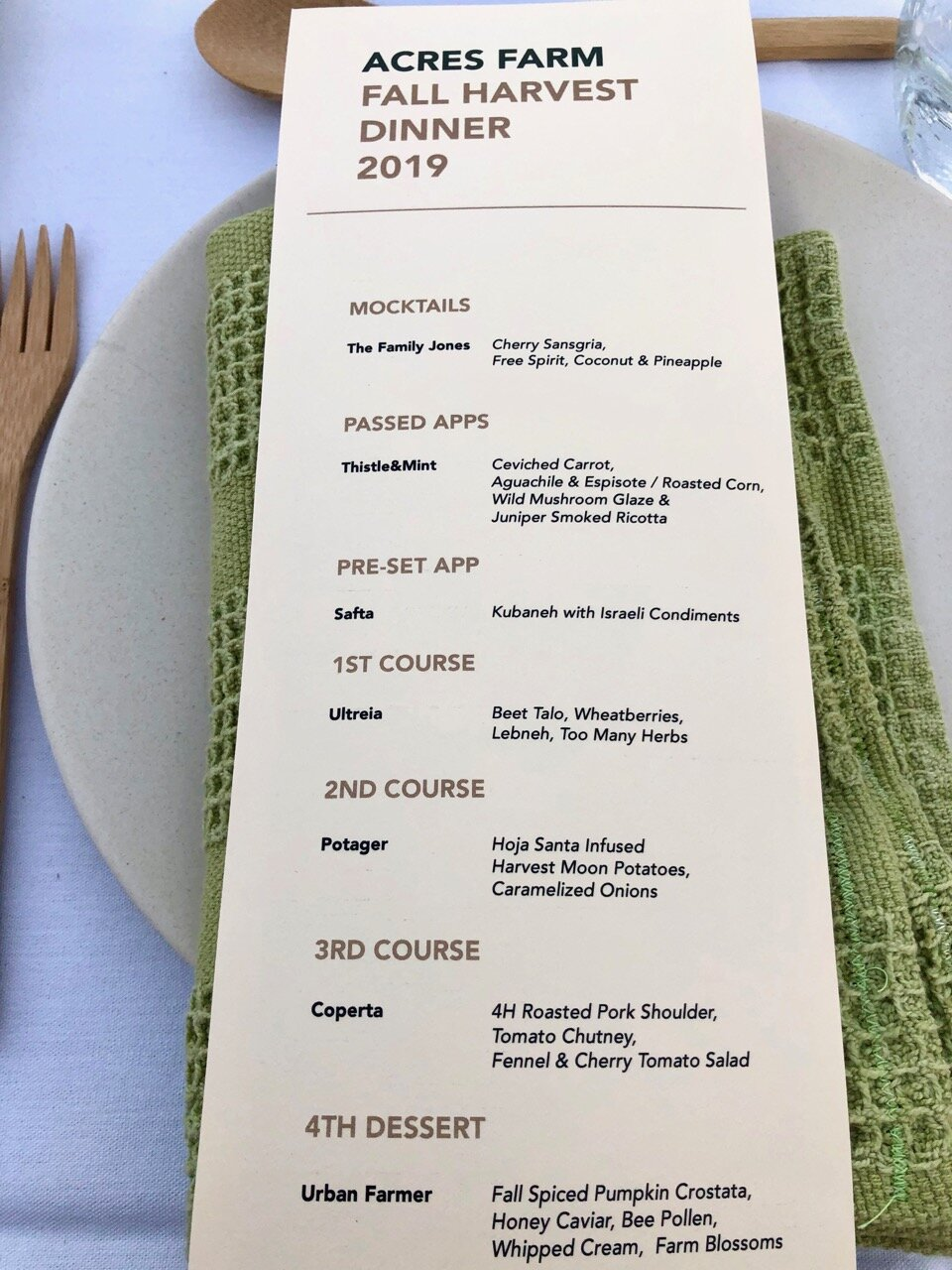 the menu for tonight's dinner