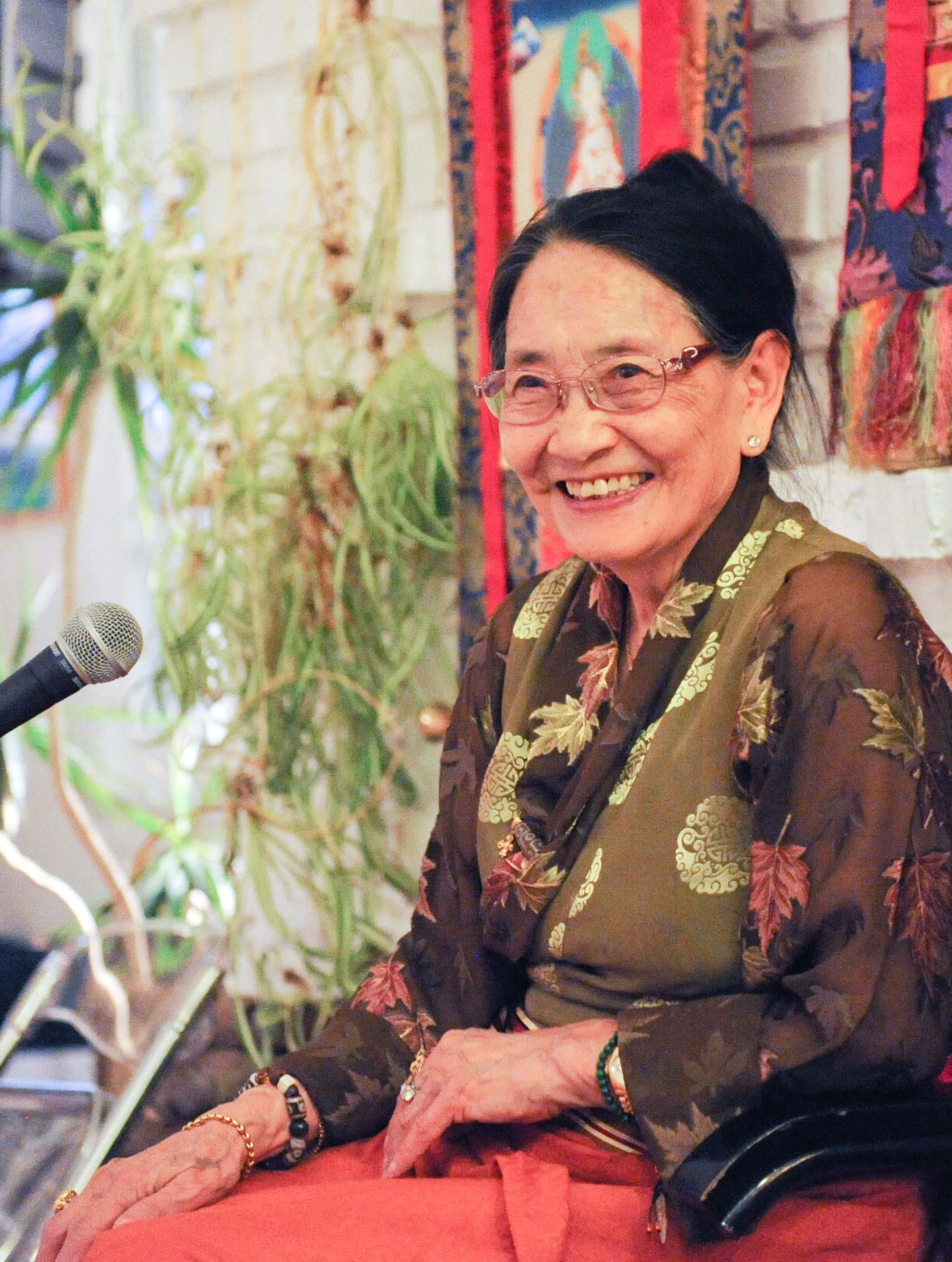 Dagmola Sakya giving a teaching in Malibu