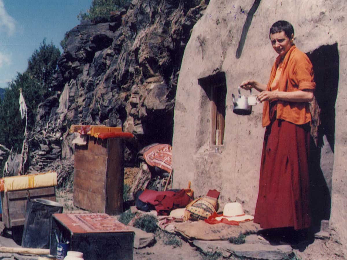 Jetsunma in her cave in the Himalayas where she spent 12 years in retreat
