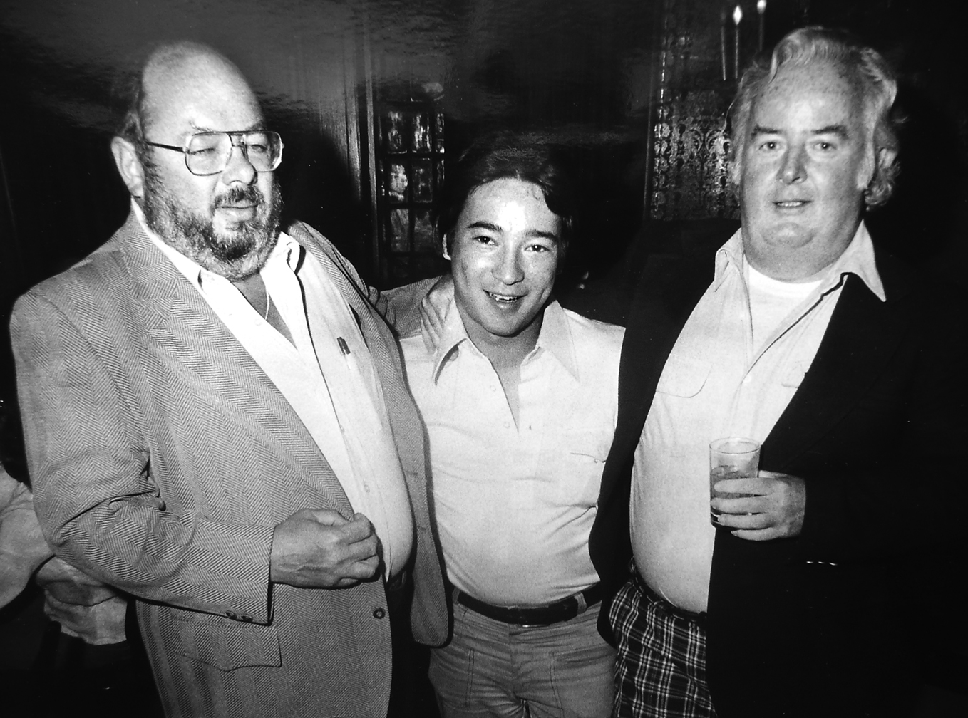 The Three Amigos: Jim Kenney (blitzed), myself, John Whelan (love those pants)