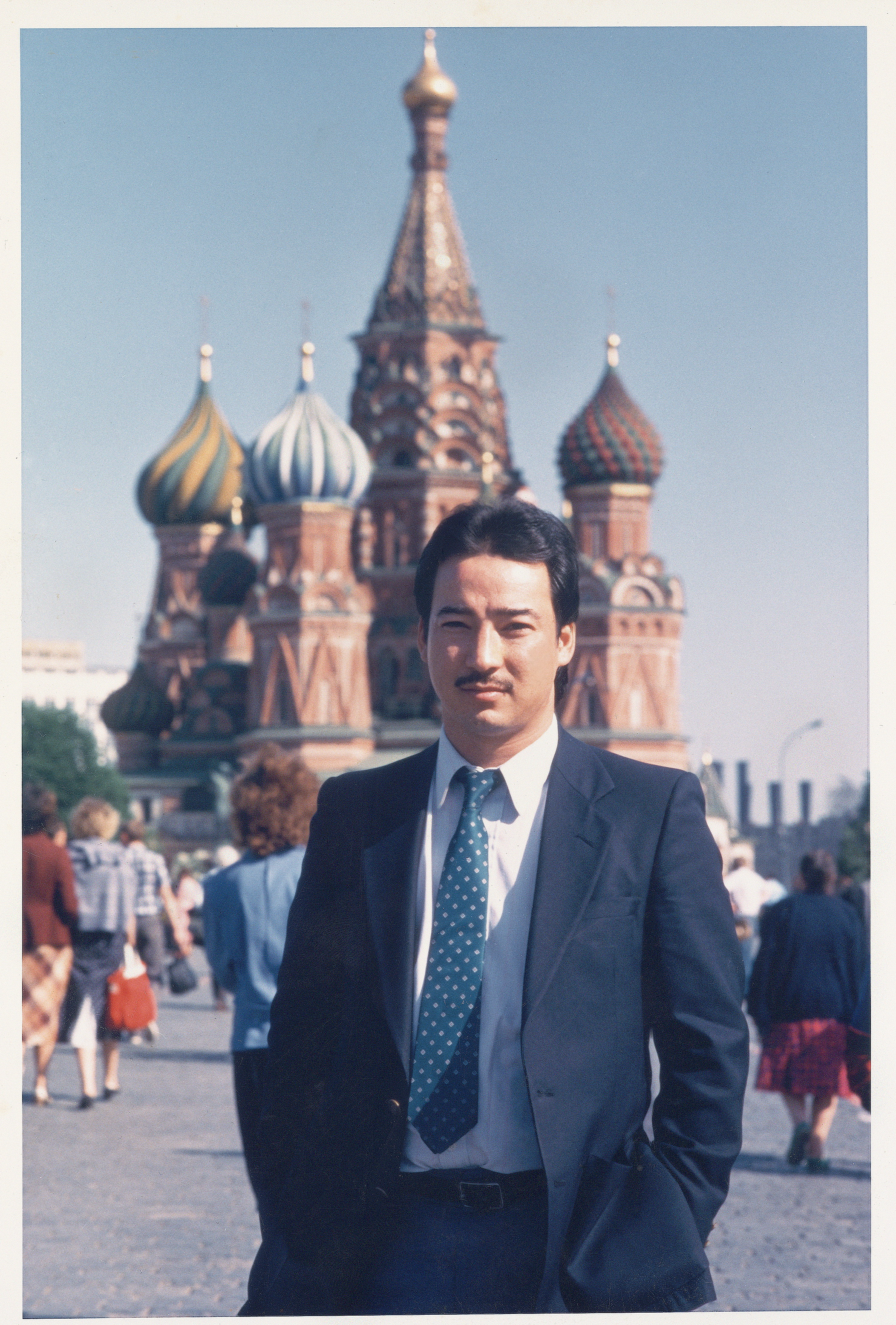 In front of St. Basils in Moscow during one of the Ronald Reagan/Michael Gorbachev summits in the 1980's.