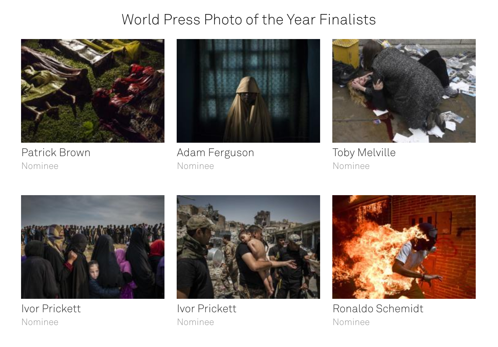 The six World Press Photo of the Year 2018 finalists.  Credit: World Press Photo