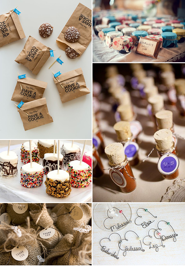 Cookies by  Spoon Fork Bacon  | Homemade Jam by  Wed Over Heels   Chocolate-covered marshmallows  Weddings by Lily  | Mini spice vials by  Bespoke-Bride   Bag of coffee beans by  Destinos | Personalized wine charms by Etsy shop  kraze4paper