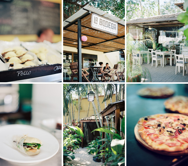 Top Row: Pasta Casera, La Bodega, Cafe Tico; Bottom Row: La Bodega, Bamboo Sushi Club, La Baula Pizzeria