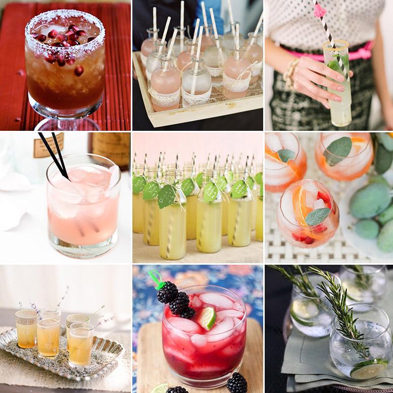 Pomegranate Lime Margarita | Pink Lemonade Spritzer | Champagne Mojito    Cardamom Rose | Spiked Lemonade | Guava Sangria    Lavender Honey Drop | Blackberry Margarita | Cucumber Rosemary Gin