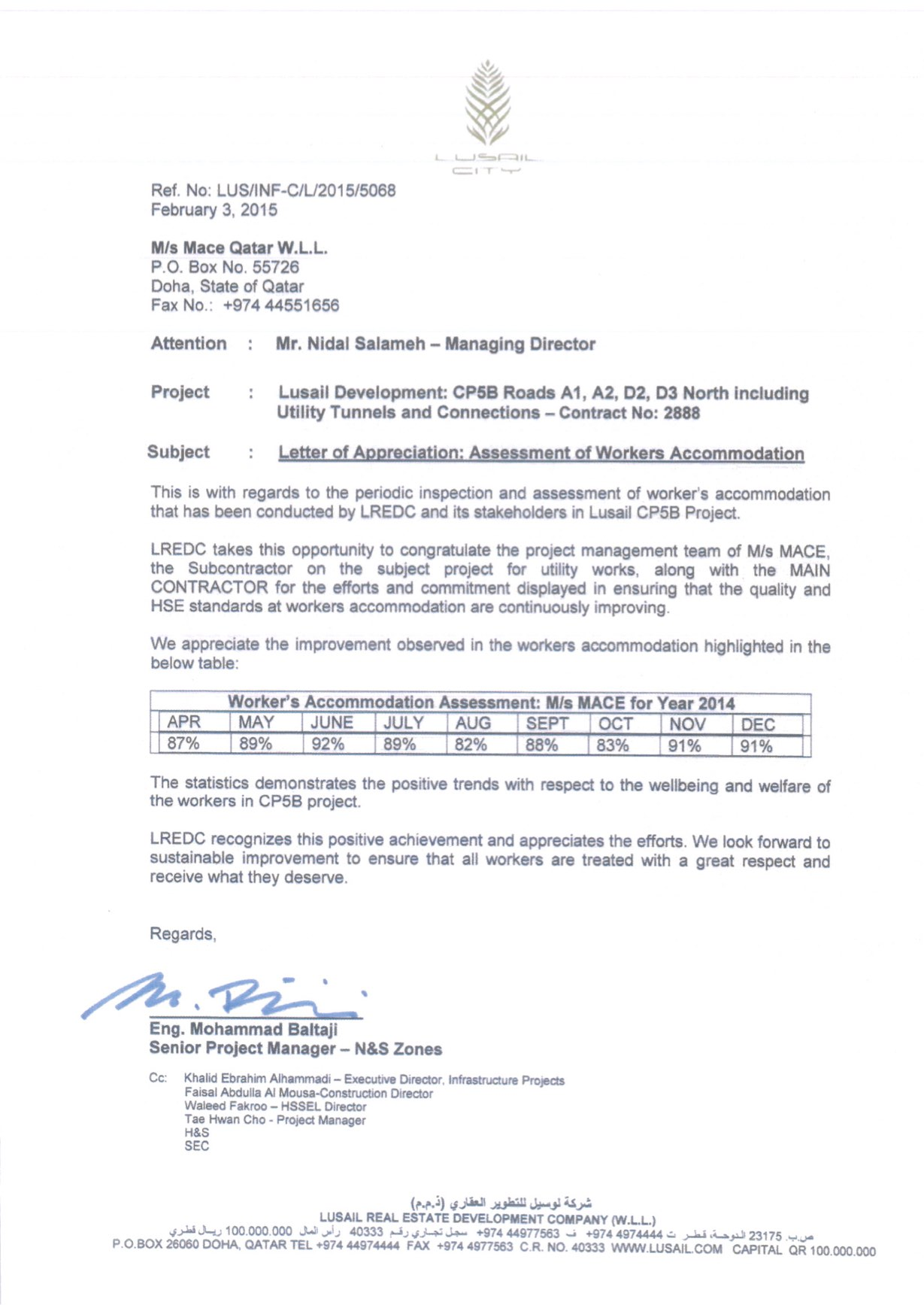Letter of Appreciation from Lusail