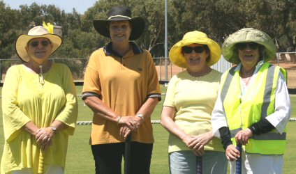 Yellow Team: l - r Jenny, Wendy, Sheryl & Coralie. (Jenny substituted for Colin in round one)