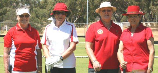 Red Team: l - r Rhonda, Kay C, Pamela & Sandra. (Beth substituted for Pamela in final)