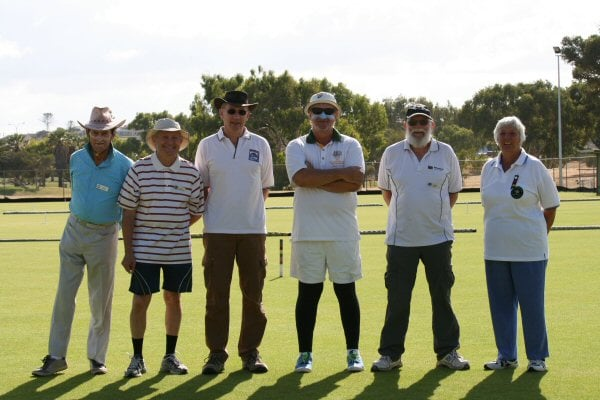 l-r Owen Keane (East Fremantle), Ed Parravicini (Forrest Park), Torben Bek (Forrest Park), Martin Clarke (Mandurah), John Doepel (Forrest Park), and Dorothy Bull from York.