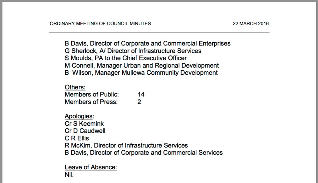 Extract of March Council meeting minutes.