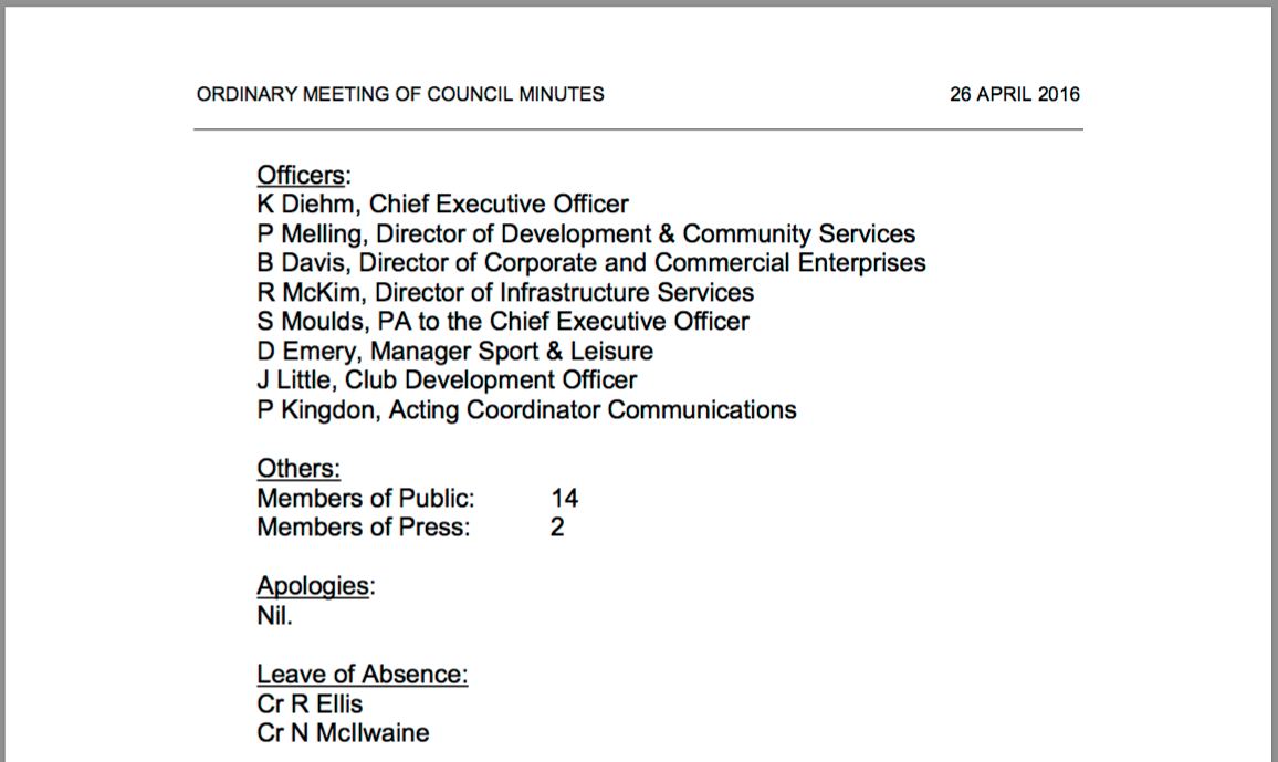 Extract of April Council meeting minutes.