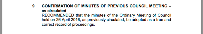 Extract of May Council meeting minutes.