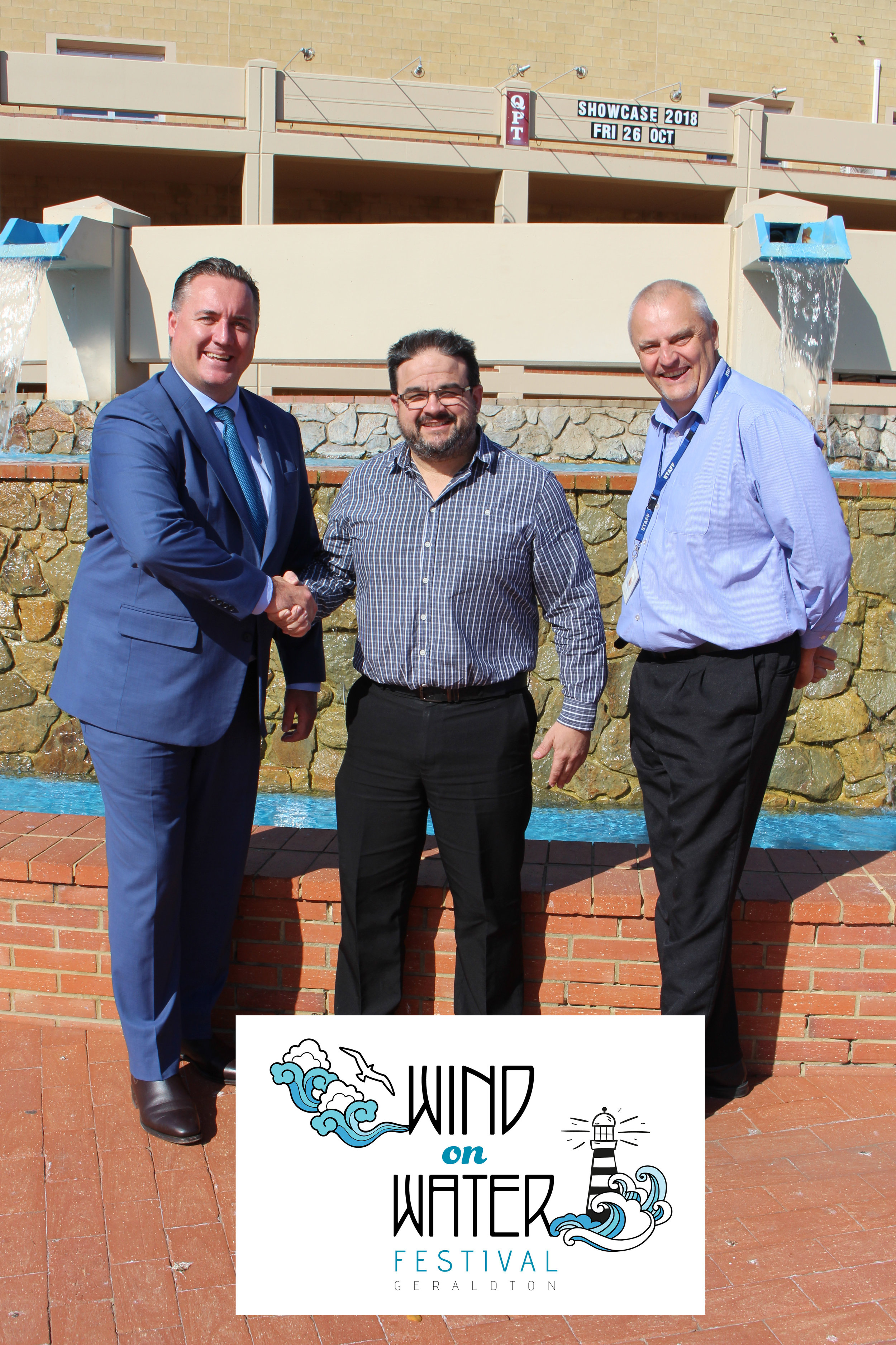 City of Greater Geraldton Mayor Shane Van Styn (from left) Seven West Media Midwest Regional Manager Jason McCarthy and City CEO Ross McKim seal the renewed deal for RedFM to sponsor the 2019 WoW Festival Concert.