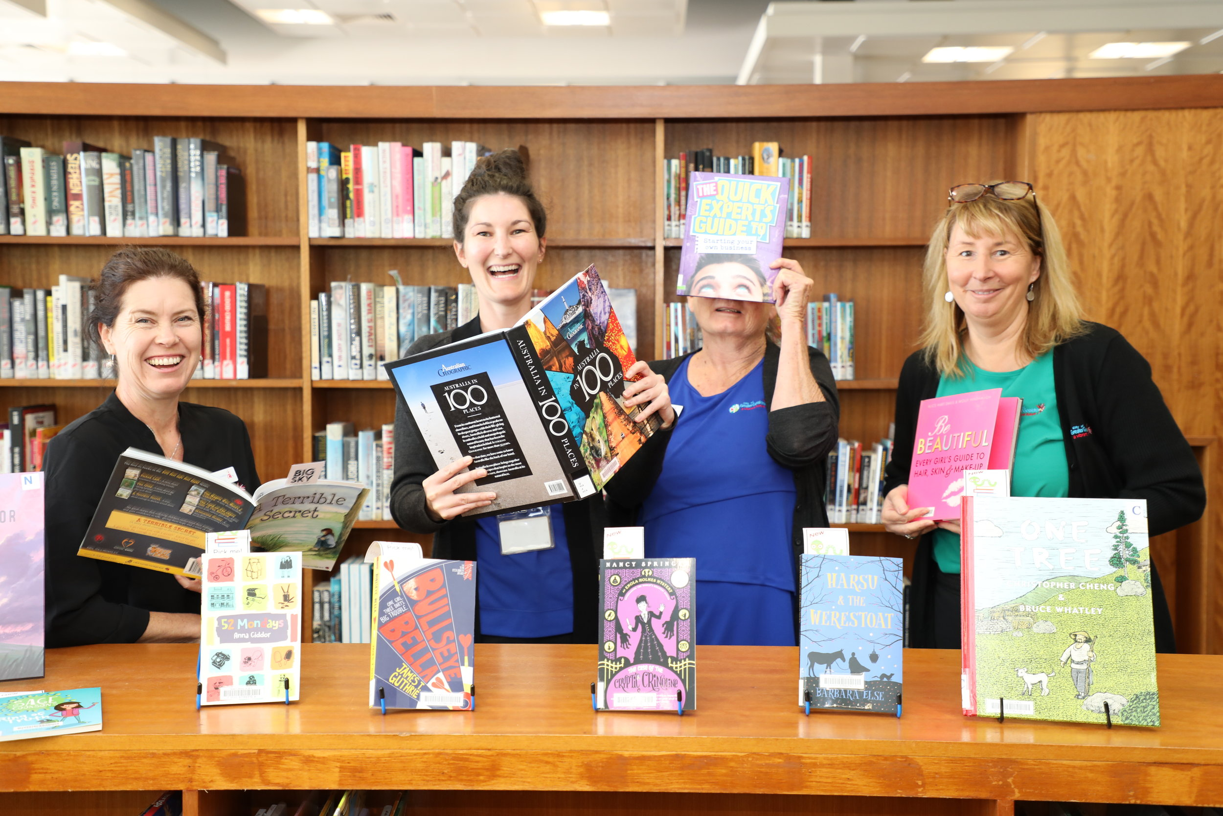 Library staff Deborah Barnett, Lorin Cox, Jenni Hargrave and Trudi Cornish are gearing up for the revamp.