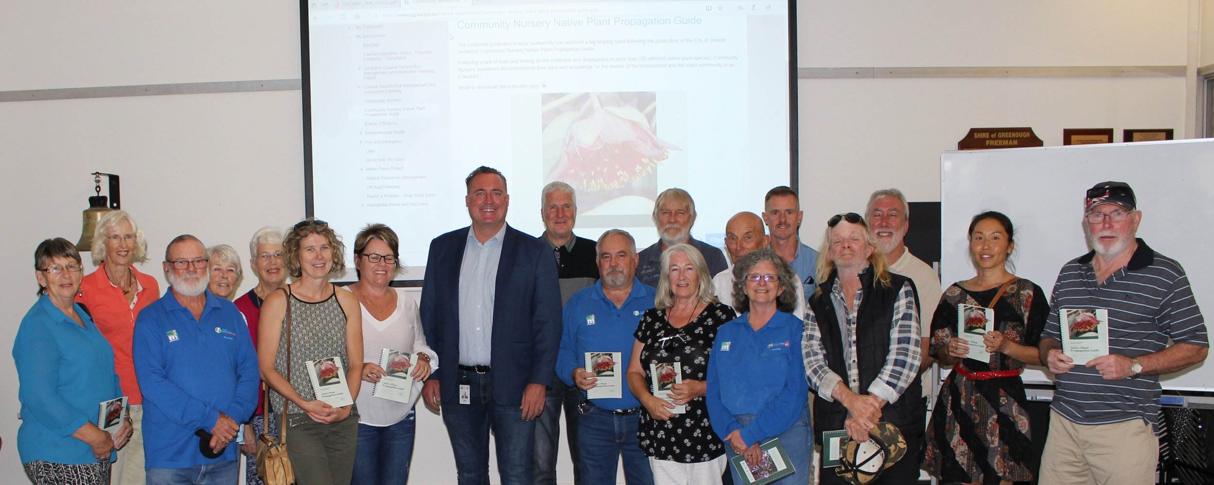 City of Greater Geraldton Mayor Shane Van Styn (middle) joins Geraldton Community Nursery volunteers to celebrate the launch of their Native Plant Propagation Guide e-booklet, available free on the City website.
