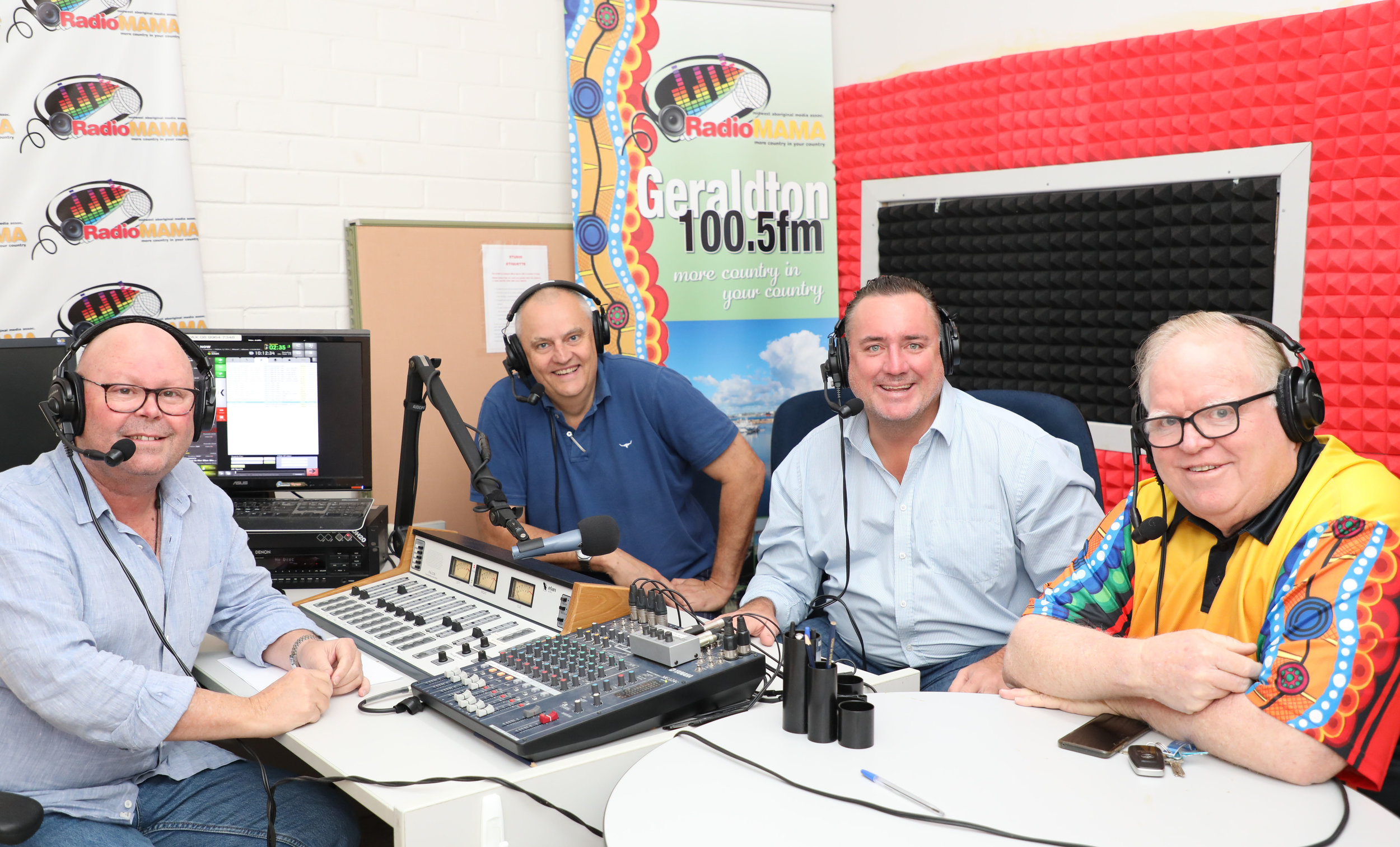Radio Mama's Pete Fiorenza, City CEO Ross McKim and Mayor Shane Van Styn with Radio Mama Manager Barry Anderson.