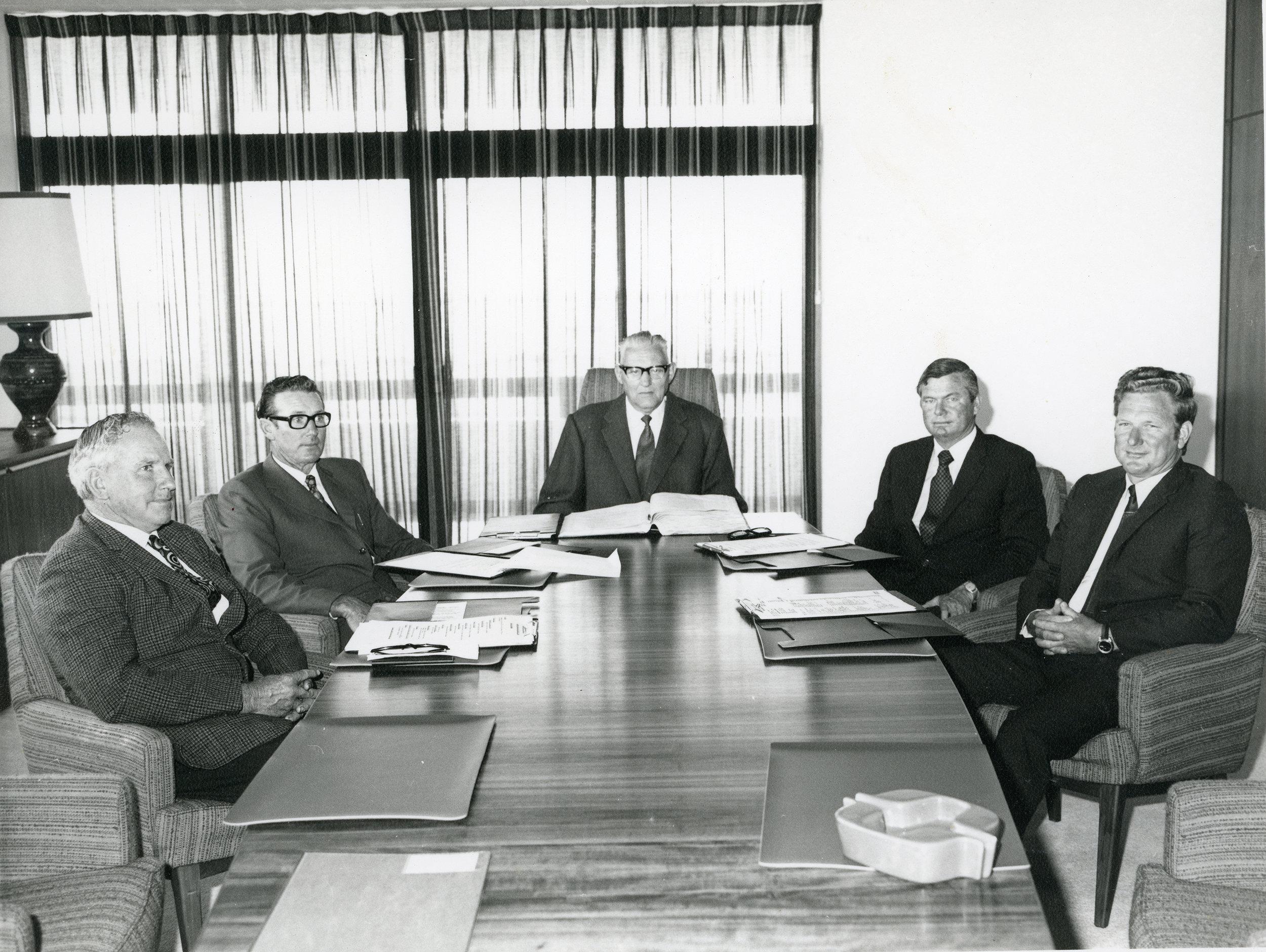 Inaugural founding five board members Bob Scott, Kevin Critch, Chairman Frank Lemmon, Ian Bogle and Alan Dutton.