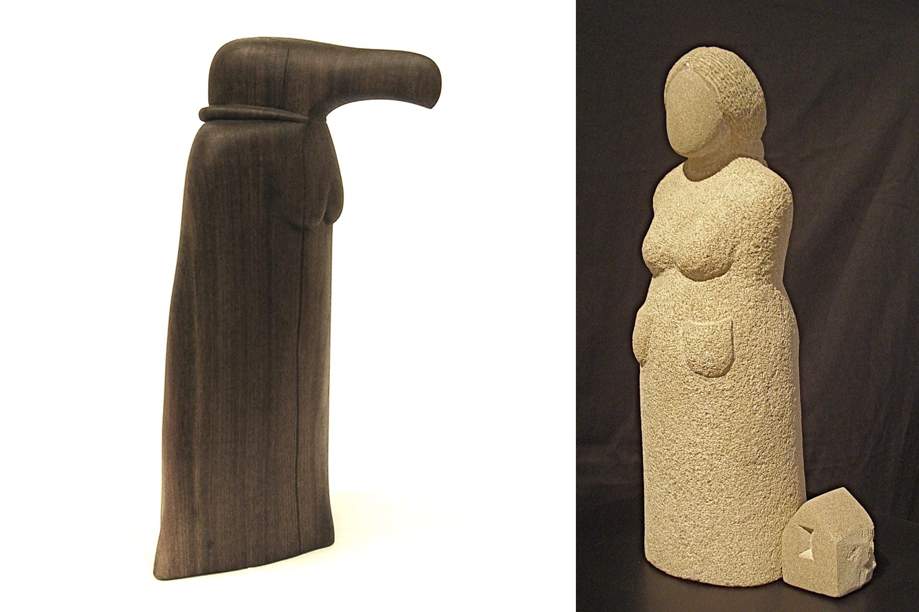 "Images: L to R, Donna Dodson, Condorita, 2013 walnut 23"" tall; Nora Valdez, Set to Go 2012 Indiana Limestone 17""x6""x7""."