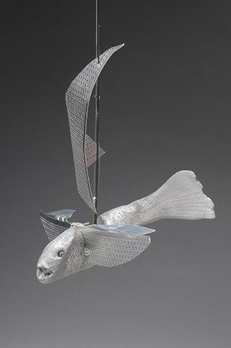 """Flying Fish, 2014, cast aluminum, sheet metal,fishing rod, 14""""x14""""x16"""""""